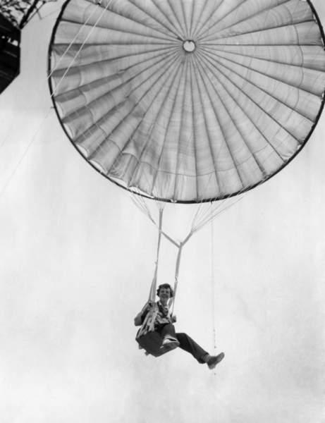 Amelia Earhart helps test a commercial parachute. June 2, 1935.  CSU ArchivesEverett Collection  Bridgeman Images
