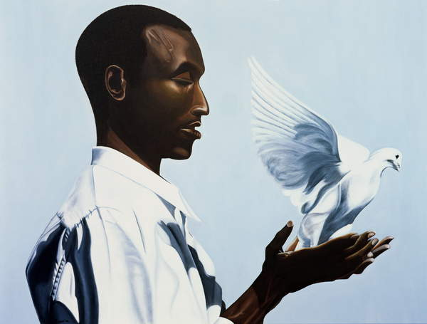 image painting of a black man freeing a white dove Be Free Three (oil & acrylic on canvas), Mucherera, Kaaria (Contemporary Artist)  Private Collection  © Kaaria Mucherera  Bridgeman Images 243578