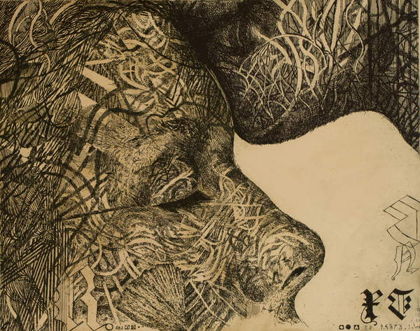 image illustration of a close up of 2 tattooed faces: one is kissing the other on the forehead  Consolation, 2019, (etching), Purzycka, Edyta  Private Collection  © Edyta Purzycka  Bridgeman Images 6308572