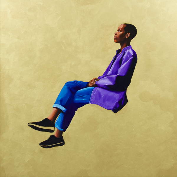 image painting of a black young man in a sitting position floating on a plain background Hanging Around II, Heald, Victoria  Private Collection  © Victoria Heald  Bridgeman Images 6331021