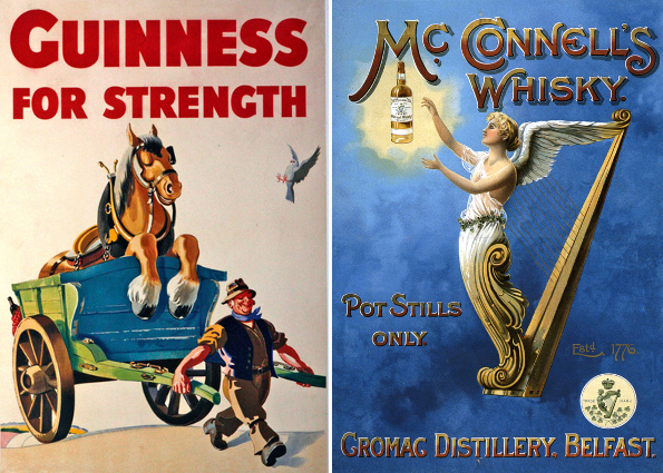 Left: Advertisement for Guinness, c.1950 by John Gilroy / Private Collection / DaTo Images Right: Poster advertising McConnell's Whisky, 1898, English School / Private Collection / © The Advertising Archives