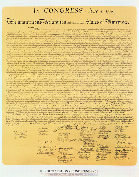 Declaration of Independence of the 13 United States of America of 1776, 1823 (copper engraving) by American School, (19th century); Private Collection; American, out of copyright