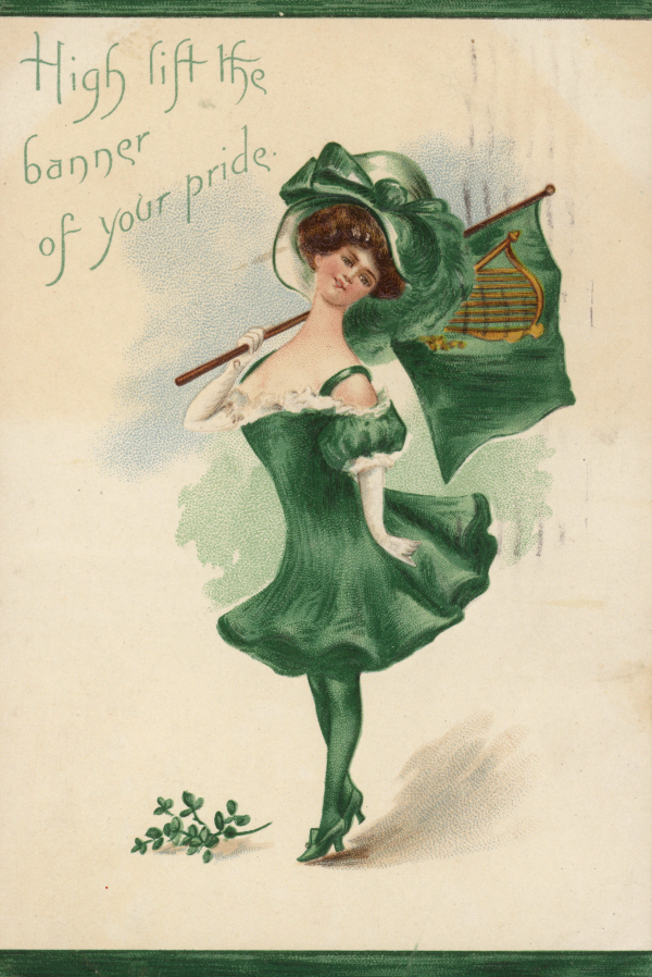 Irish Girl, All In Green, English School (20th century) / Private Collection / © Look and Learn