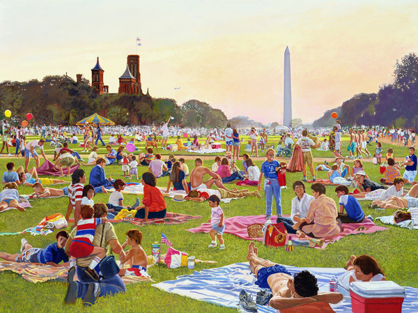 The Mall on the fourth: Waiting for the Fireworks to Start, 1998 (oil on canvas) by Frank Wright (b.1932); 91.4x121.9 cm; The Classical Gallery, Virginia, USA; American, in copyright