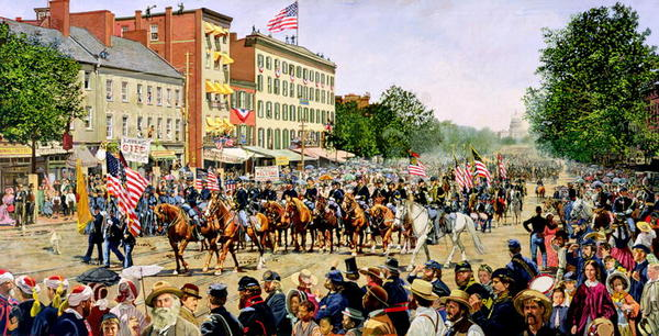 A Fourth of July Grand Parade on Pennsylvania Avenue, Washington DC duting the 19th century, 1991 (oil on canvas) by Wright, Frank (b.1932); 121.9x243.8 cm; The Classical Gallery, Virginia, USA; (add.info.: celebration of the American Day of Independence;); American, in copyright