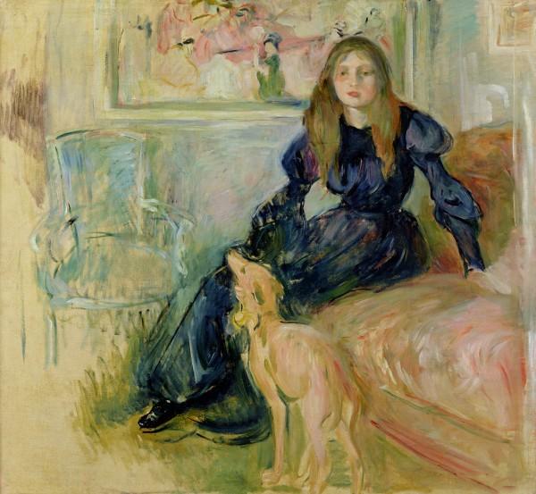 Julie Manet and her Greyhound Laerte, 1893 by Morisot, Berthe Musee Marmottan Monet, Paris