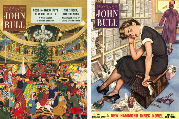 Left: Front cover of 'John Bull', December 1952 (colour litho), English School, (20th century) / Private Collection / © The Advertising Archives Right: Front cover of 'John Bull', September 1951 (colour litho), English School, (20th century) / Private Collection / © The Advertising Archives