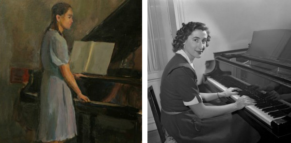 Left: Woman By Piano, 1950s (oil on card), Natalia Gippius (1905-94) / Gamborg Collection Right: French Athlet and Pianist Micheline Ostermeyer, April 1St, 1949 (b/w photo) / Photo © AGIP