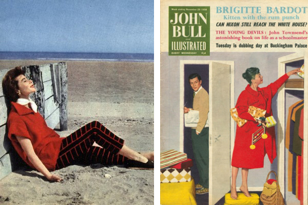 Left: Front cover of 'John Bull', November 1959 (colour litho), English School, (20th century) / Private Collection / © The Advertising Archives Right: Patou fashion, 1953 / Photo © PVDE