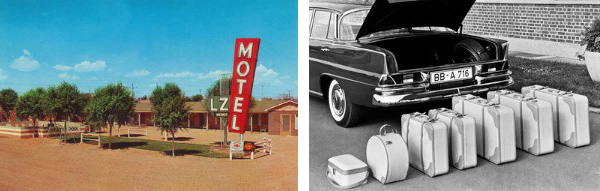 Left: 1950s American Motor Court Motel, c.1955 (screen print), American Photographer, (20th century) / Private Collection / Photo © GraphicaArtis Right: Mercedes-Benz And Luggage, Germany, c.1960 (b/w photo) / Underwood Archives/UIG