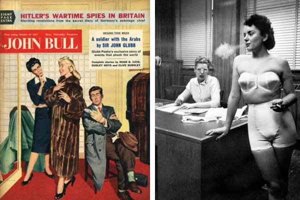 Left: Front cover of 'John Bull', October 1957 (colour litho), English School, (20th century) / Private Collection / © The Advertising Archives Right: Smoking Lingerie Model, Chicago, Illinois, 1949 (b/w photo) / Underwood Archives/UIG
