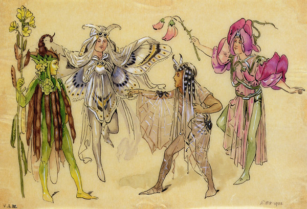 """SC36463 Four Fairy Costumes for """"A Midsummer Night's Dream"""" produced by Robert Courtneidge at the Princes Theatre, Manchester, 1896-1903 by Wilhelm, C. (1858-1925); Victoria & Albert Museum, London, UK; English, out of copyright"""