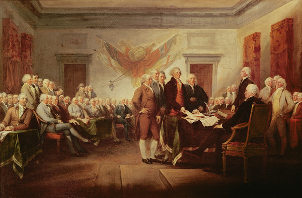 Signing the Declaration of Independence, 4th July 1776, c.1817 (oil on canvas) by John Trumbull (1756-1843); US Capitol Collection, Washington D.C., USA; (add.info.: signed on 4th July 1776; drafting committee in foreground: Thomas Jefferson (1743-1826) presents document to John Hancock (1737-93); portraits of 42 of the 56 signers and 5 other patriots;); Photo © Boltin Picture Library; American, out of copyright