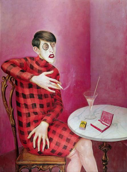 Portrait of the Journalist Sylvia Von Harden (1894-1963) 1926 (mixed media on panel), Otto Dix (1891-1969) / Musee National d'Art Moderne, Centre Pompidou, Paris, France