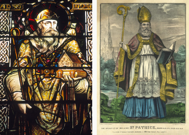 Left: Stained glass window depicting St. Patrick (stained glass), Irish School / St. Patrick's Cathedral, Dublin, Ireland / Ken Welsh Right: St Patrick, pub. Currier & Ives, c.1860 (hand coloured engraving), American School, (19th century) / Private Collection / The Stapleton Collection