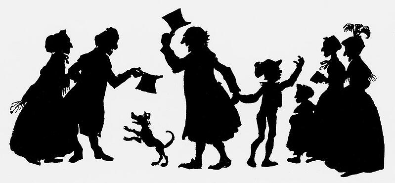 XJF406267 Silhouette illustration from 'A Christmas Carol' by Charles Dickens, 1917 (printed paper) by English School, (20th century); Private Collection; (add.info.: Charles Dickens (1812-70) English novelist; 'A Christmas Carol' published in 1843;); English, it is possible that some works by this artist may be protected by third party rights in some territories.