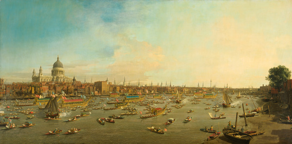 The River Thames with St. Paul's Cathedral on Lord Mayor's Day, c.1747-8 (oil on canvas), Giovanni Antonio Canal Canaletto (1697-1768) / Lobkowicz Palace, Prague Castle, Czech Republic / Bridgeman Images