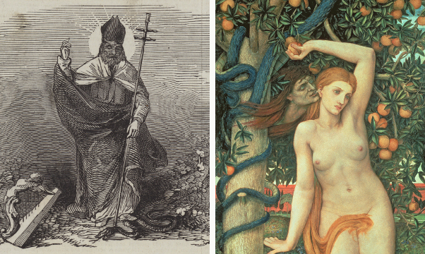 Left: St Patrick's Day (engraving), English School, (19th century) / Private Collection / © Look and Learn / Illustrated Papers Collection Right: Eve Tempted, c.1877 (tempera on panel), John Roddam Spencer Stanhope (1829-1908) / Manchester Art Gallery, UK