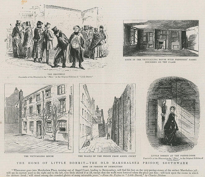 614673 The home of Little Dorrit (engraving) by English School, (19th century); Private Collection; (add.info.: The home of Little Dorrit - the old Marshalsea Prison, Southwark, London, now the process of demolition. Published in The Graphic, 22 January 1887.); Look and Learn / Peter Jackson Collection; English, out of copyright.