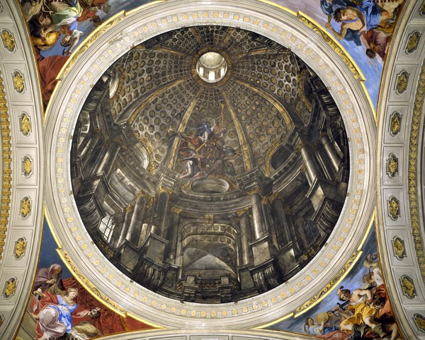 Dome of the Church of St Ignatius, 1685 (fresco), Andrea Pozzo (1642-1709) / Sant' Ignazio, Rome, Italy / Bridgeman Images