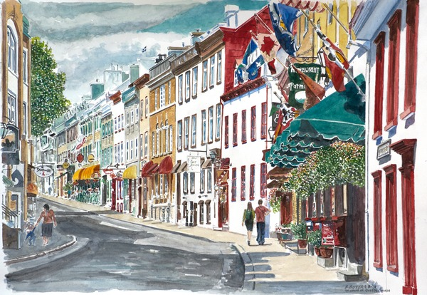 Quebec, Old City, Canada, 2010 (w/c on paper), Anthony Butera / Private Collection