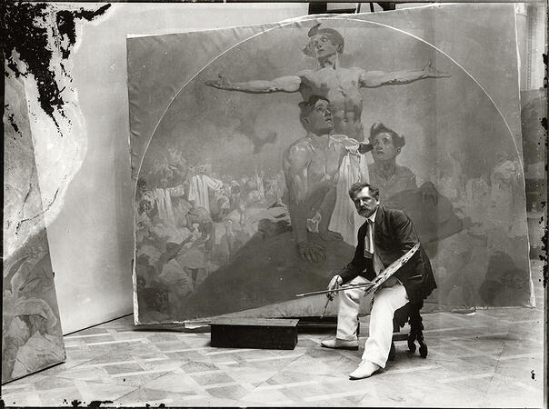 752561 Self portrait, working on a mural for the Lord Mayor's Hall, Obecni dum, Prague, c.1910 (b/w photo) by Mucha, Alphonse Marie (1860-1939); Mucha Trust; (add.info.: Alfons (or Alphonse) Maria Mucha (24 July 1860 – Prague, 14 July 1939), Czech Art Nouveau painter and decorative artist, known best for his distinctive style. He produced many paintings, illustrations, advertisements, postcards, and designs.); PERMISSION REQUIRED FOR NON EDITORIAL USAGE; Czech, out of copyright. PLEASE NOTE: Bridgeman Images works with the owner of this image to clear permission. If you wish to reproduce this image, please inform us so we can clear permission for you.