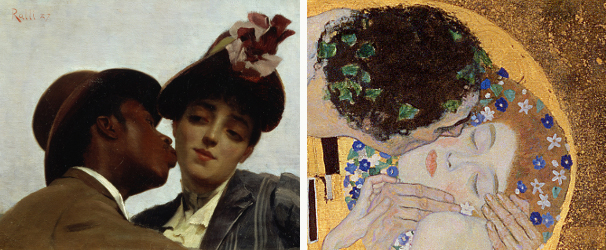 Left: The Kiss, 1887 by Theodore Jacques Ralli / Private Collection / Berko Fine Paintings, Knokke-Zoute, Belgium Right: The Kiss, 1907-08 by Gustav Klimt / Osterreichische Galerie Belvedere, Vienna, Austria