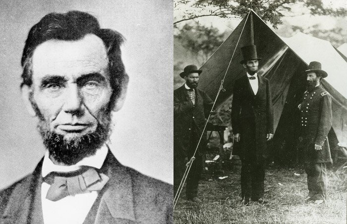 Left: Abraham Lincoln (1809-65) 1863 (b/w photo), Alexander Gardner (1821-82) Right: Abraham Lincoln with Allan Pinkerton and Major General John A. McClernand, 1862 (b/w photo), Alexander Gardner (1821-82) / © Collection of the New-York Historical Society, USA