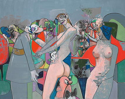 The Manhattan Strip Club, 2010 (acrylic, charcoal and pastel on canvas), George Condo (b.1957) / Private Collection / Photo © Christie's Images / Bridgeman Images