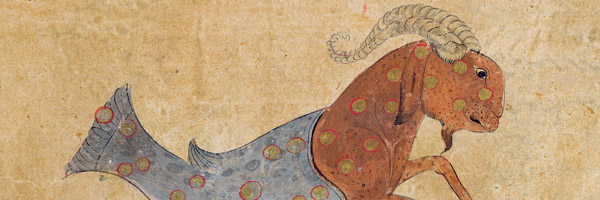 Ms E-7 fol.29b The Constellations of Sagittarius and Capricorn, illustration from 'The Wonders of the Creation and the Curiosities of Existence' by Zakariya'ibn Muhammad al-Qazwini (gouache on paper), (14th century); Institute of Oriental Studies, St. Petersburg, Russia