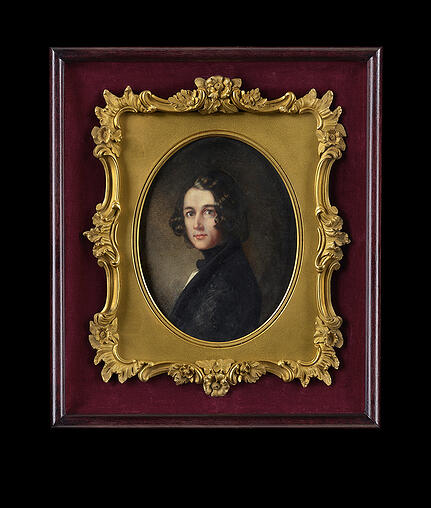 5242196 Charles Dickens, 1843 (w/c & gouache on ivory) by Gillies, Margaret (1803-87); height: 14 cm; Private Collection; (add.info.: Portrait of Charles John Huffan Dickens (1812-1870), wearing dark jacket and cravat, white waistcoat, his dark hair worn collar-length in long curls. This recently discovered portrait of a young Charles Dickens (1812–1870) has not been seen in public since its inaugural presentation at the Royal Academy Summer Exhibition of 1844, the year following the publication of A Christmas Carol. Considered lost, even during the artist Margaret Gillies' (1803–1887) own lifetime, it is an image heretofore only known to Dickens' biographers through an engraving published in 1844. Its re-emergence following a house-clearance sale in South Africa adds a significant new likeness to the limited early iconography of the writer); REPRODUCTION PERMISSION REQUIRED; English, out of copyright. PLEASE NOTE: Bridgeman Images works with the owner of this image to clear permission. If you wish to reproduce this image, please inform us so we can clear permission for you.