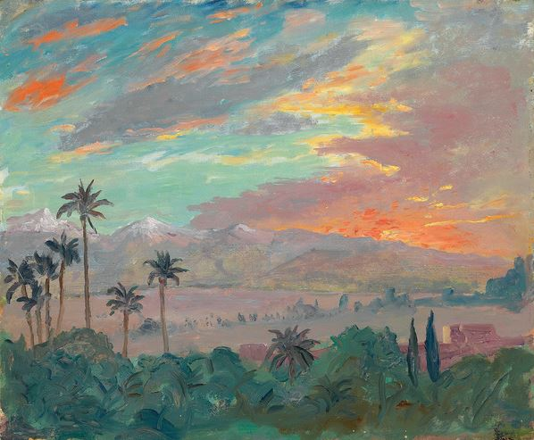 Sunset over the Atlas Mountains, c. 1935 (oil on canvas), Winston Churchill (1874-1965) / Private Collection / Photo © Christie's Images