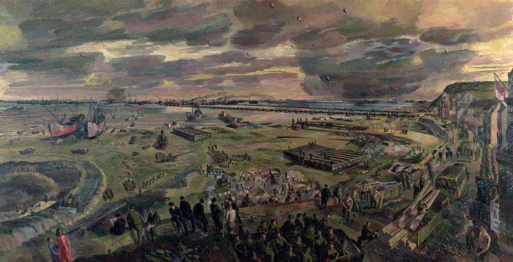 IWM2628 The Landing in Normandy, Arromanches, D-Day plus 20, 26th June 1944, 1947 (oil on canvas) by Freedman, Barnett (1901-58); 154.9x304.8 cm; Imperial War Museum, London, UK; English, in copyright. PLEASE NOTE: This image is protected by the artist's copyright which needs to be cleared by you. If you require assistance in clearing permission we will be pleased to help you.