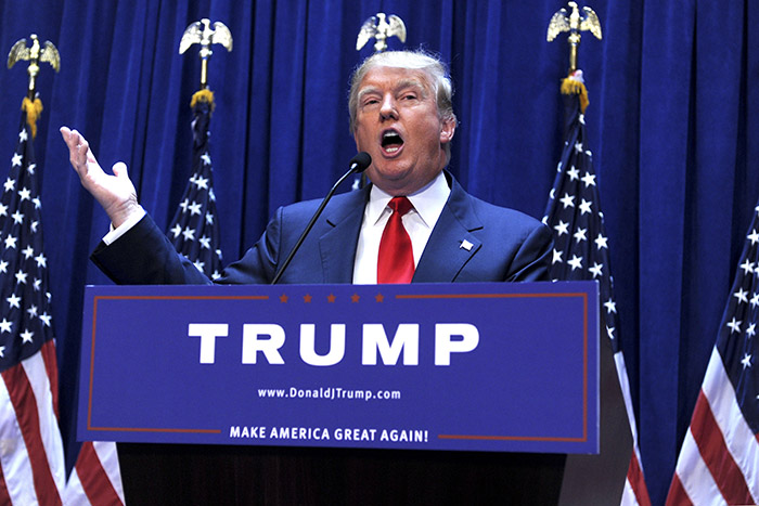 Donald Trump when announcing his candidacy for the US presidential election campaign, Trump Tower, New York City, 2015 (photo) / © SZ Photo / snapshot / Future Image / Van Tine
