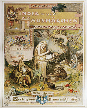 Title page of Children's and Household Tales (Kinder Und Hausmarchen), by Jacob Ludwig Karl Grimm (1785-1863) and Wilhelm Karl Grimm (1786-1859), Germany, 19th century