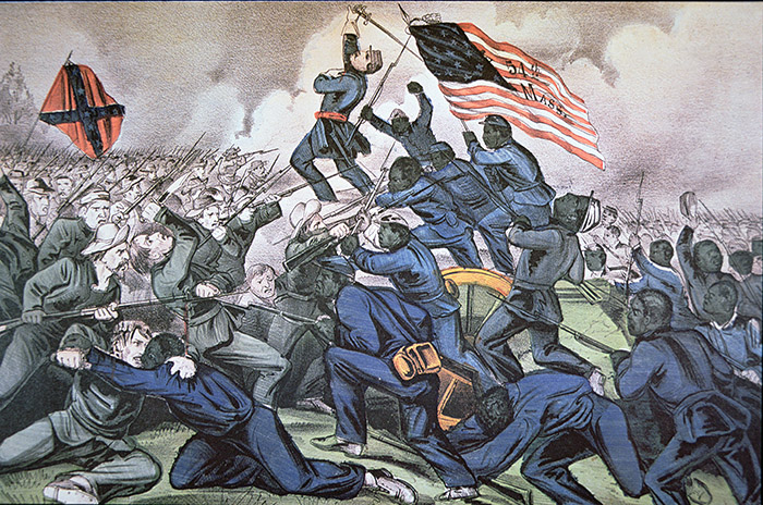 Fort Wagner Stormed by the 54th Massachusetts (Colored) Regiment, 18th July 1863 (colour litho), American School, (19th century) / Private Collection / Peter Newark American Pictures