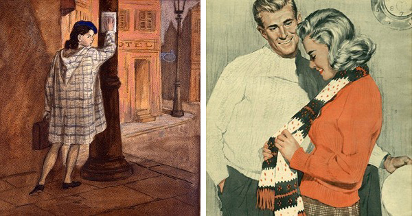 Left: French Communist Young Woman Hanging Anti-Imperialism Poster in Paris, 1950s (gouache on paper), Mikhail Rojter (1916-93) / Gamborg Collection Right: Illustration from 'John Bull', 1959 (colour litho), Heseltine, John (fl.1958) / Private Collection / © The Advertising Archives