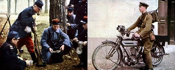 French soldiers, Marne, September 1914 (autochrome), Jules Gervais-Courtellemont (1863-1931) / Bridgeman Images; English dispatch rider, 1914 (autochrome), Jules Gervais-Courtellemont (1863-1931) / Bridgeman Images