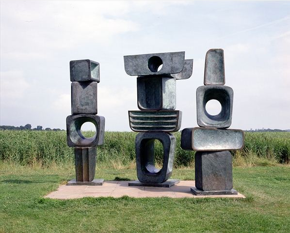 Three Figures from the Family of Man, Ancestor I, Ancestor II and Parent I / c.1970 by Barbara Hepworth / On Loan to the Maltings, Snape, Suffolk, UK / The Fitzwilliam Museum, Cambridge, UK