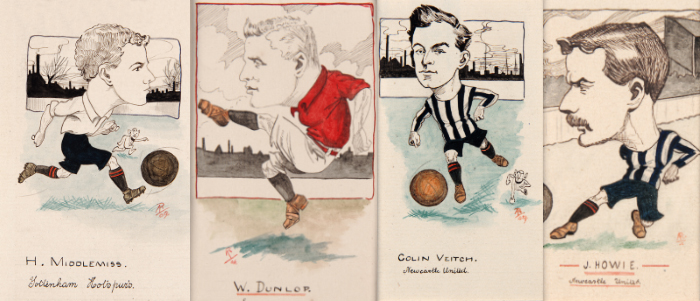 NFM315279 Bert Middlemiss, Tottenham Hotspur, drawing for a set of cigarette cards, 1907 (pen & ink on card) by Rip, (fl.1907-09); National Football Museum, Manchester, UK; (add.info.: Bert Middlemiss (d.1941) English professional footballer; winger for Tottenham Hotspur;); English, out of copyright
