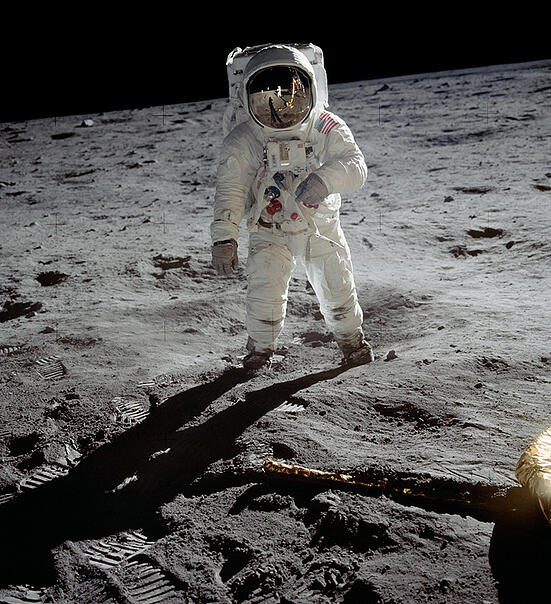 """3588538 Astronaut Edwin 'Buzz' Aldrin standing on the moon after the Apollo 11 landing, 20 July 1969 (colour photo); (add.info.: Photograph by astronaut Neil Armstrong (who is reflected in Aldrin's visor with the lunar module 'Eagle') Neil Armstrong and Edwin """"Buzz"""" Aldrin on Apollo 11 at the Sea of Tranquility in the first moon landing, July 20 1969); out of copyright."""