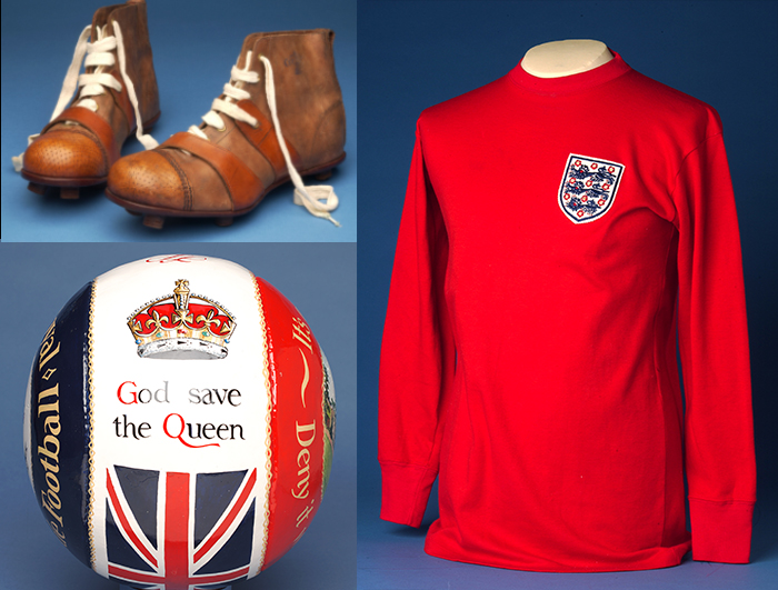 Clockwise: Pair of Cert Boots, 1910 ; An England shirt with international badge, as worn by teh 1997 World Cup winning team ; Ashbourne football (leather)