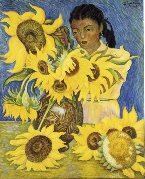 Girl with Sunflowers, 1941 (oil on masonite), Diego Rivera (1886-1957) / Private Collection / Photo © Christie's Images