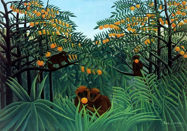 Monkeys in the Jungle, 1910 (oil on canvas), Henri J.F. Rousseau (Le Douanier) (1844-1910) / Private Collection