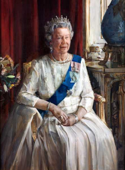 Credit: HM Queen Elizabeth II, 1995 (oil on canvas), Furr, Christian / Private Collection