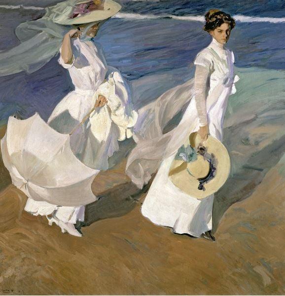 Strolling along the Seashore, 1909 (oil on canvas), Joaquin Sorolla y Bastida (1863-1923) / Museo Sorolla, Madrid, Spain