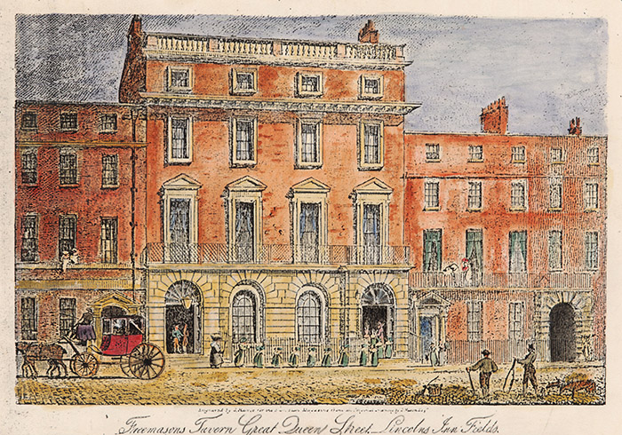 The Freemason's Tavern, 1863 (colour litho) by English School, (19th century); National Football Museum, Manchester, UK; (add.info.: the site of the formation of the Football Association; Queen Street, Lincoln Inn Fields, London;); English, out of copyright