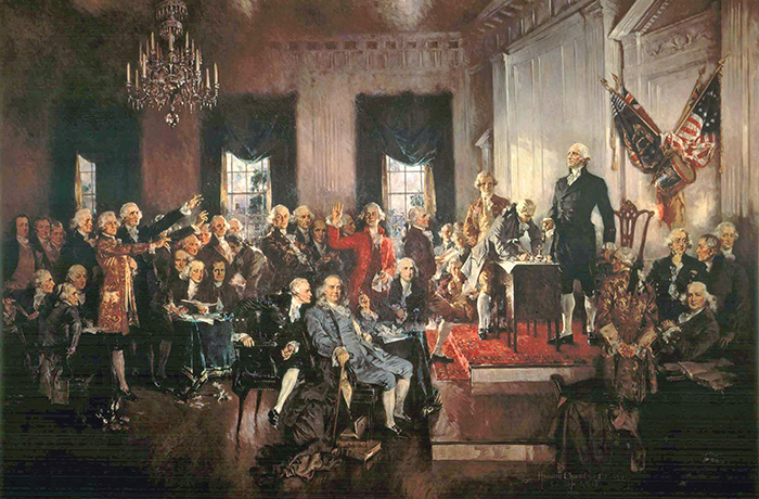 The Signing of the Constitution of the United States in 1787, 1940 (oil on canvas), Howard Chandler Christy (1873-1952) / Hall of Representatives, Washington D.C., USA / Bridgeman Images