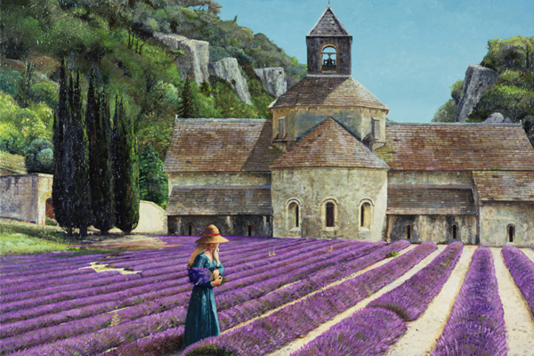 Lavender Picker, Abbaye Senanque, Provence (oil on canvas), Trevor Neal (Contemporary Artist) / Bridgeman Images