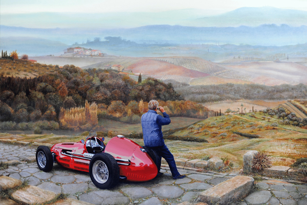 Maserati A6 GCM, 2001 (oil on canvas), Trevor Neal (Contemporary Artist) / Bridgeman Images